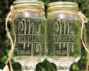 Redneck Wine Toasting Glasses Now, I am Complete © Mr. Mrs. Personalize Last Name Whimsical Font Wedding Mason Jars Daisy Lids Handle Choice