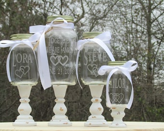 Mason Jar Unity Sand Set  Blended Family of 3 Unity Sand Set / Personalized Toasting Glasses  Linked Hearts Wood Stands Choice of Fonts