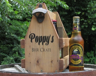 Personalized Beer Crate with Built-in Bottle Opener Block Holder Handmade Custom Rustic Beer Caddie Made of Solid Wood All natural stain