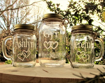 Unity Sand Set Personalized  Mason Jar Mugs  Linked Hearts Rustic Farm Barn Country Weddings Ceremony Choice of Fonts & Lids Pouring Mugs