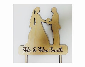 Wedding Cake Topper Personalized Bride and Groom Rustic Natural Wood Decor Mr. & Mrs. Last Name  Photo Prop Vintage Traditional Church