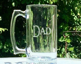 Father's Day Gift Dad Glass Beer Stein Mug Choose from Deer, Fish, Ducks, Bear  with Gift Tag  Ready to ship to reach dad by Father's Day