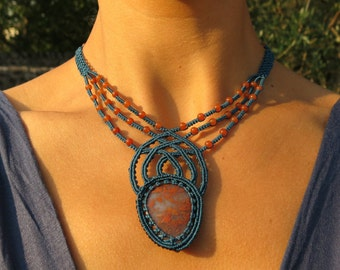 Handmade Micro-Macramè Necklace with Red Moss Agate and Carnelian - Elaborate Sophisticated Statement Necklace with semiprecious stones