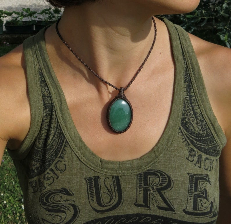 success and personal growth Gem therapy good luck Goa Top quality Green Aventurine in handmade Micro-macrame necklace Healing stone