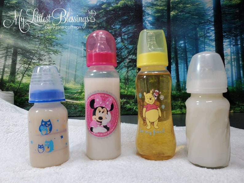 Faux Formula & Juice Bottles.  Eight Ounce Bottles.  Clear image 0