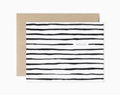 Striped hello greeting card | Modern blank card | Striped card | Black and white stripes | GCE12