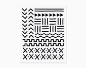 Mud cloth art print | Boho art print | Gallery wall art | Minimal decor | AP04