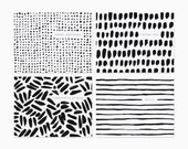 Brush mark card set | Stationery set | Assorted greetings | Abstract cards | Set of 8 | GCX07
