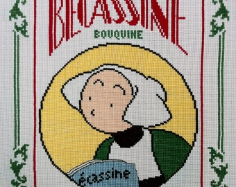 Bécassine reads - Cross stitch