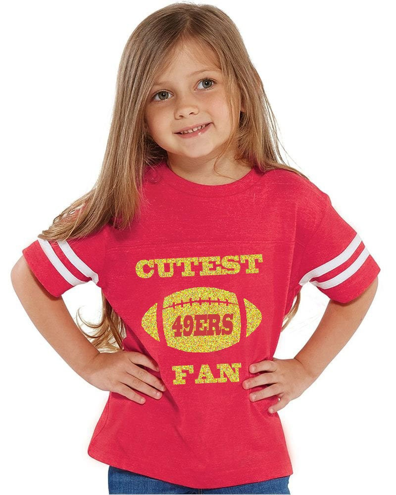 Glitter Cutest 49ers Fan Toddler Jersey Style T-shirt Makes A Perfect Gift Customize With A Name & Number Unisex Tshirt