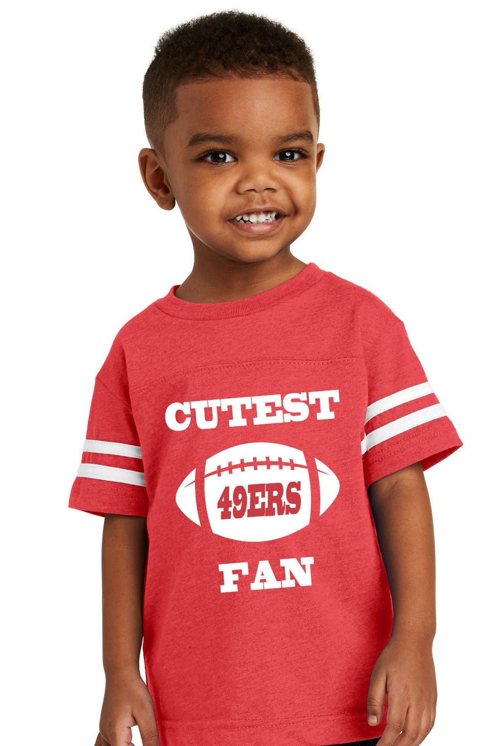Cutest 49ers Fan Toddler Jersey Style T-shirt Red And White Makes A Perfect Gift Customize With A Name & Number Unisex Tshirt