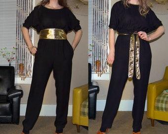 ef75da2ed308 Vintage 1980 s BLACK   GOLD Lame  BELTED Tapered Leg Fancy Cocktail JUMPSUiT