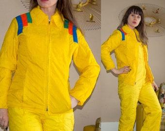 Vintage 1970 s Aspen Yellow RAINBOW Striped SKI Jacket   Bibs Winter SET 6e8c390f5