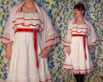 787da39b209 Flirtations Vintage 1970 s Red   White Xmas PARTY SWING Dress With Matching  Shawl