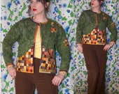 Vintage 1960 39 s Homemade PATCHWORK Quilted FOLK Art LEAF Pattern Americana Jacket