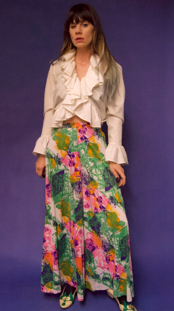 Vintage 1960's/70's PSYCHEDELIC Abstract Floral P… - image 2