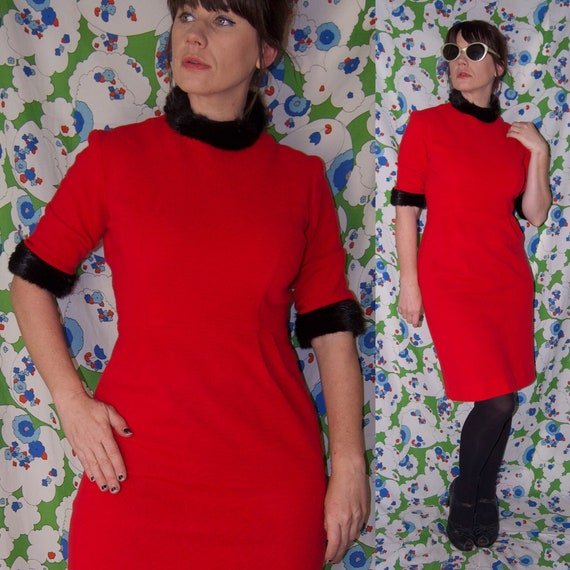 Vintage 1940's/50's FUR Trimmed RED WOOL Judy Sue