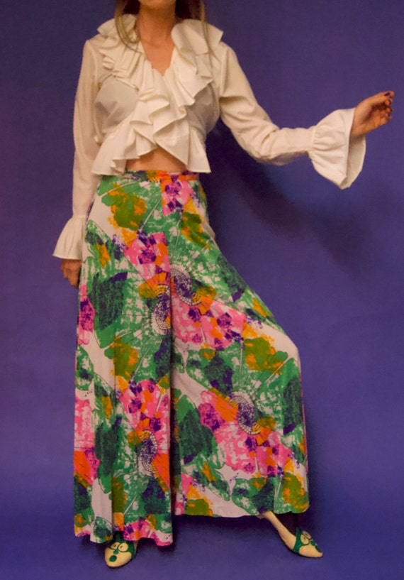 Vintage 1960's/70's PSYCHEDELIC Abstract Floral P… - image 6