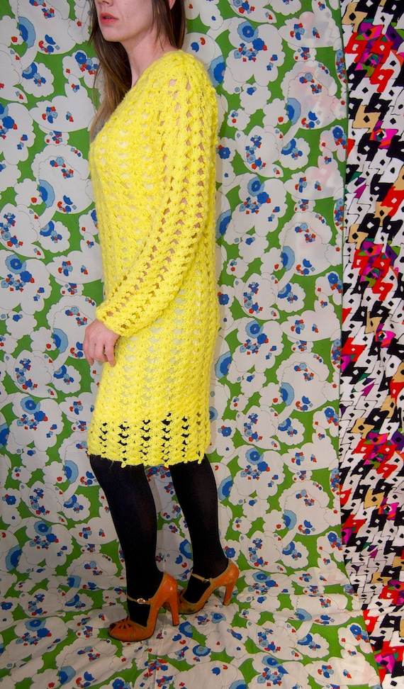 Vintage 1970's Bright YELLOW CROCHET Knit Mini MO… - image 3
