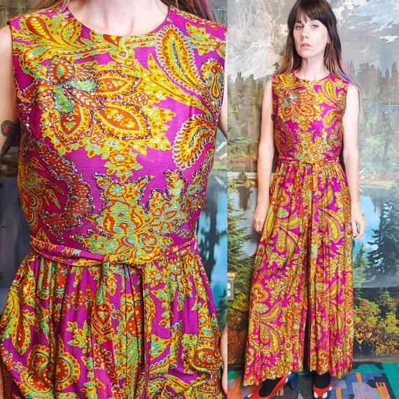 Vintage 1970's Psychedelic Paisley Print SEQUIN Tr