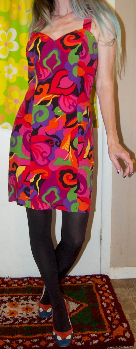 1990's RAMPAGE Mini Dress ~ RAYON HALTER Dress ~ … - image 4