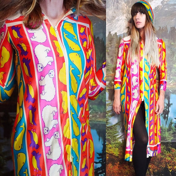 Vintage 1970s HOODED PSYCHEDELIC Neon ANIMAL Mod M