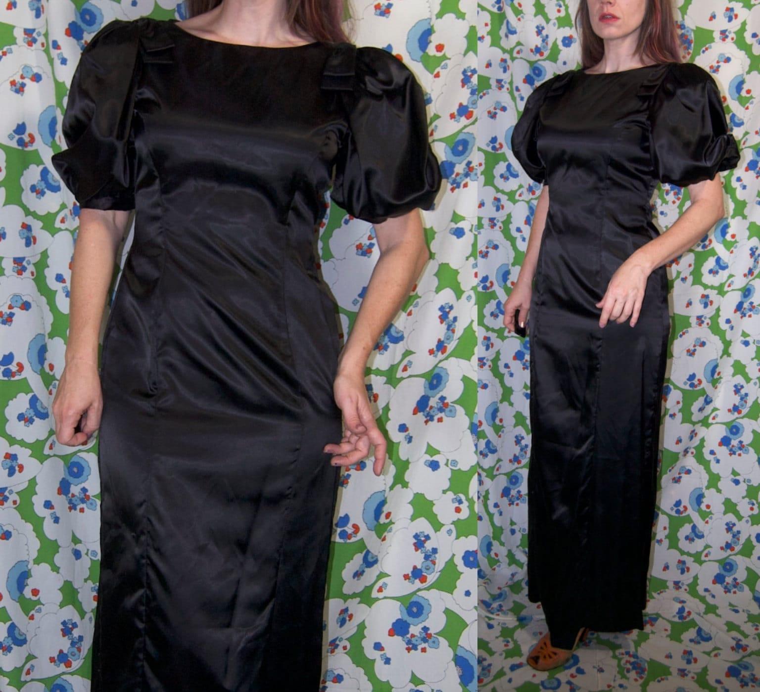 80s Dresses   Casual to Party Dresses Vintage 1980s Big Sleeve Inky Black Shiny Satin Wiggle Dress $24.00 AT vintagedancer.com