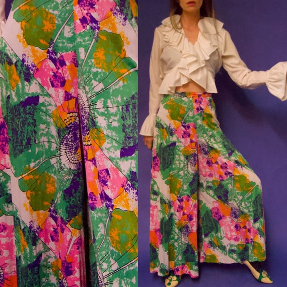 Vintage 1960's/70's PSYCHEDELIC Abstract Floral P… - image 1