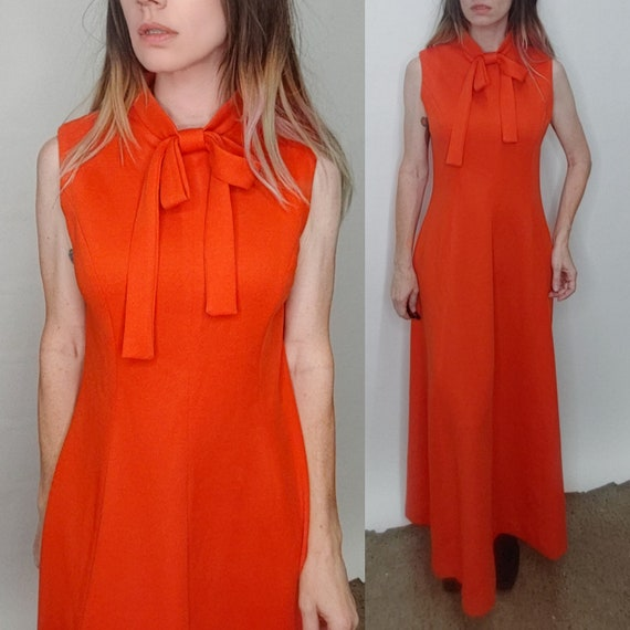 Vintage 1970's MOD Red Big Red BOW Neck Tie MAXI G