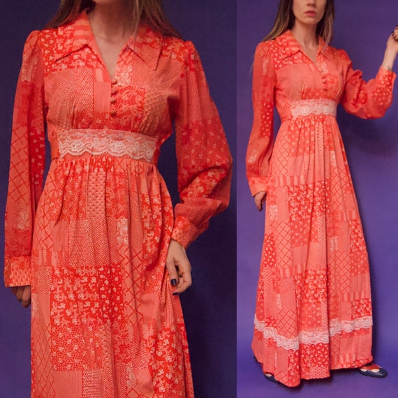 Vintage 1970's Gunne Sax Style RED & White FLORAL… - image 1