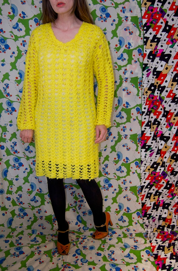 Vintage 1970's Bright YELLOW CROCHET Knit Mini MO… - image 6