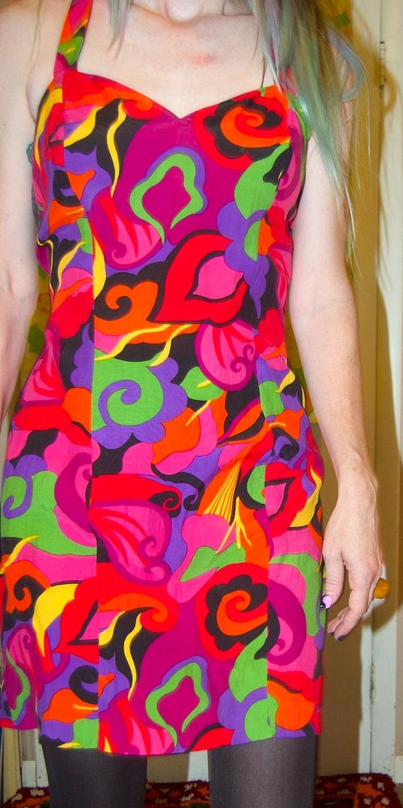 1990's RAMPAGE Mini Dress ~ RAYON HALTER Dress ~ … - image 5