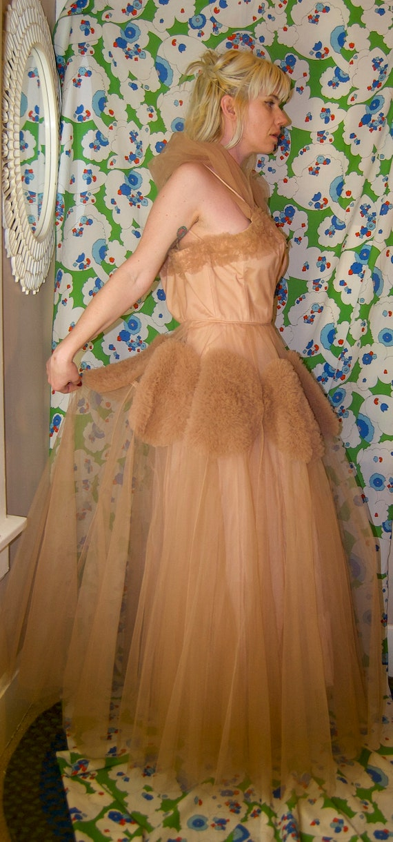 STUNNING Dress SKiRT Vintage Formal Fashion PARTy Prom CHIFFON RareTAUPE Emma Wedding High Domb Tulle U8wdqpOwFx