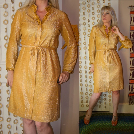 Vintage 1960's Sparkly GOLD Loungees METALLIC GLIT