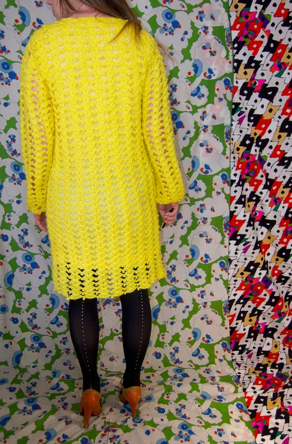 Vintage 1970's Bright YELLOW CROCHET Knit Mini MO… - image 4