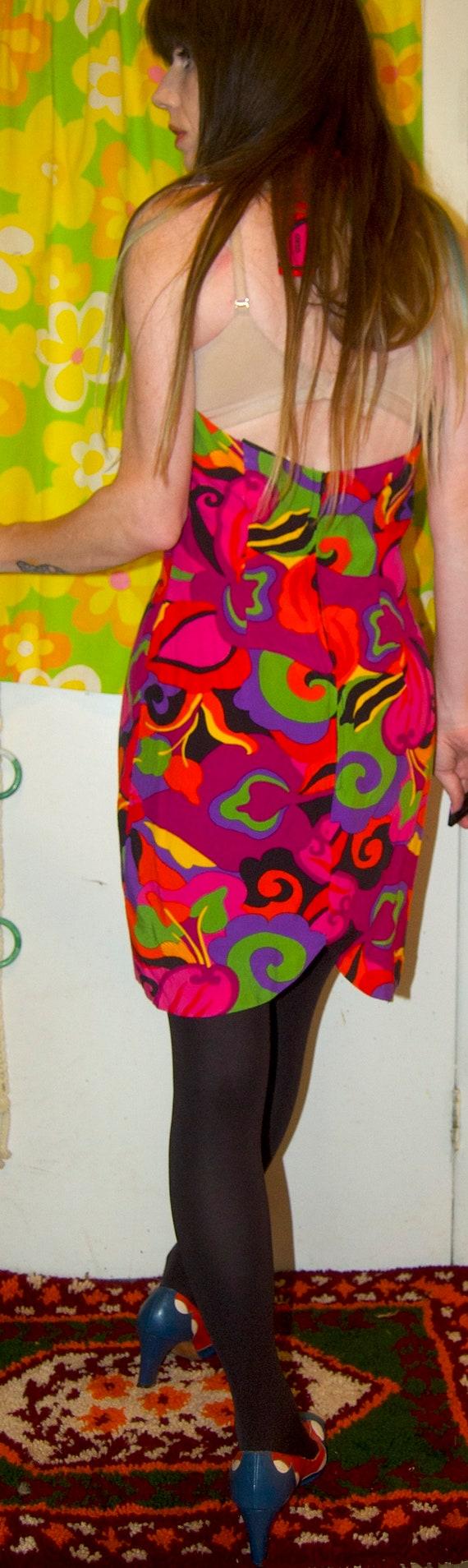 1990's RAMPAGE Mini Dress ~ RAYON HALTER Dress ~ … - image 3