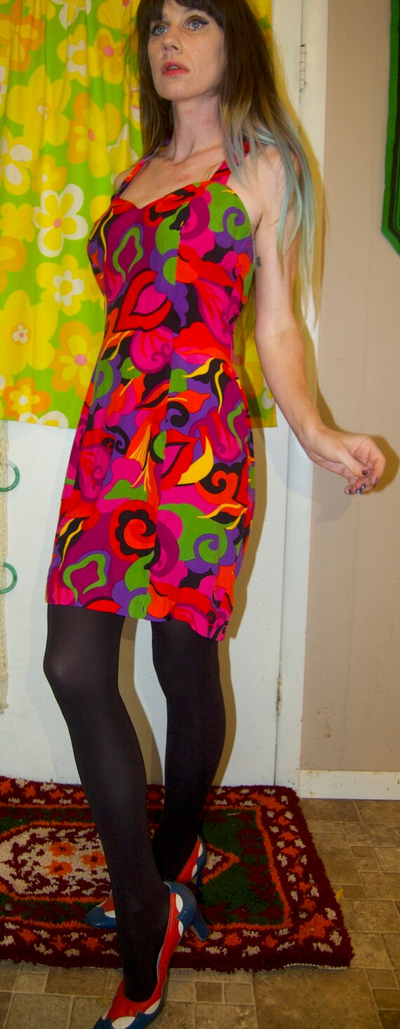 1990's RAMPAGE Mini Dress ~ RAYON HALTER Dress ~ … - image 2