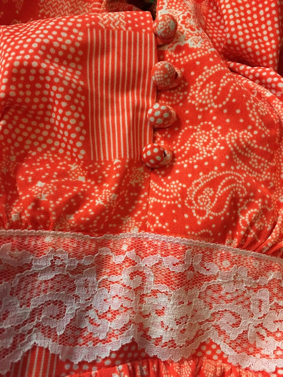 Vintage 1970's Gunne Sax Style RED & White FLORAL… - image 8