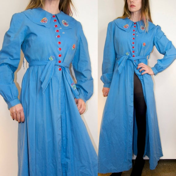 Vintage 1930's/40's Embroidered Chambray BLUE COTT