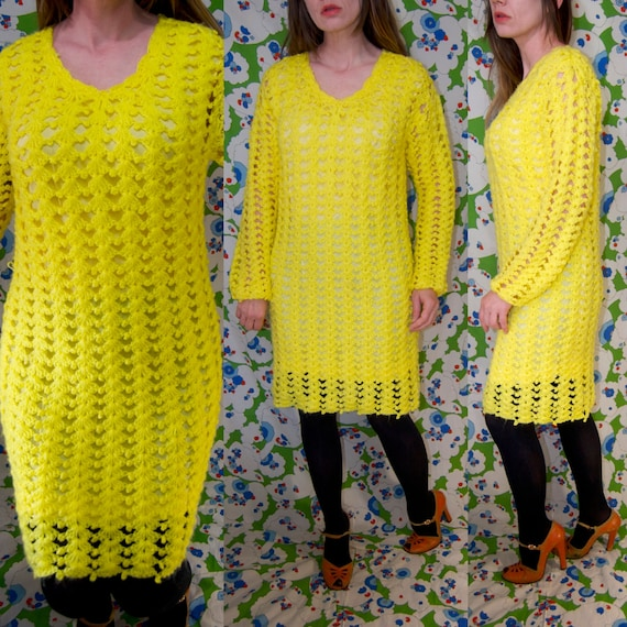 Vintage 1970's Bright YELLOW CROCHET Knit Mini MO… - image 1