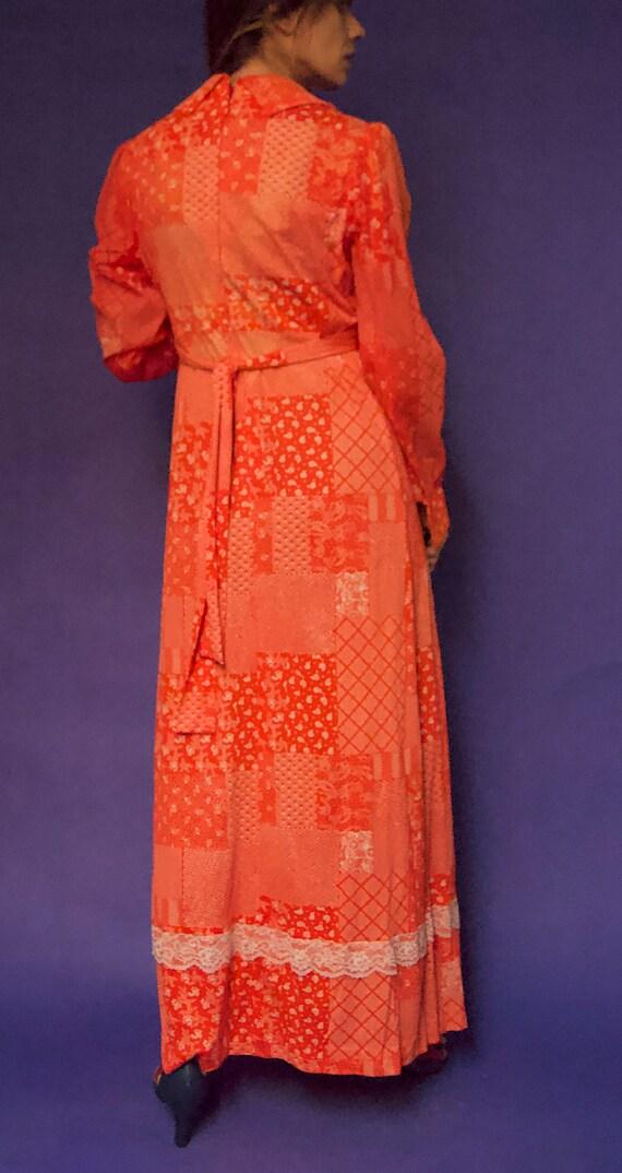 Vintage 1970's Gunne Sax Style RED & White FLORAL… - image 5