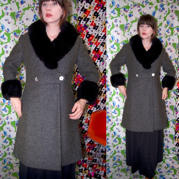 Vintage 1950's Black FUR Trim GREY Wool PRINCESS W