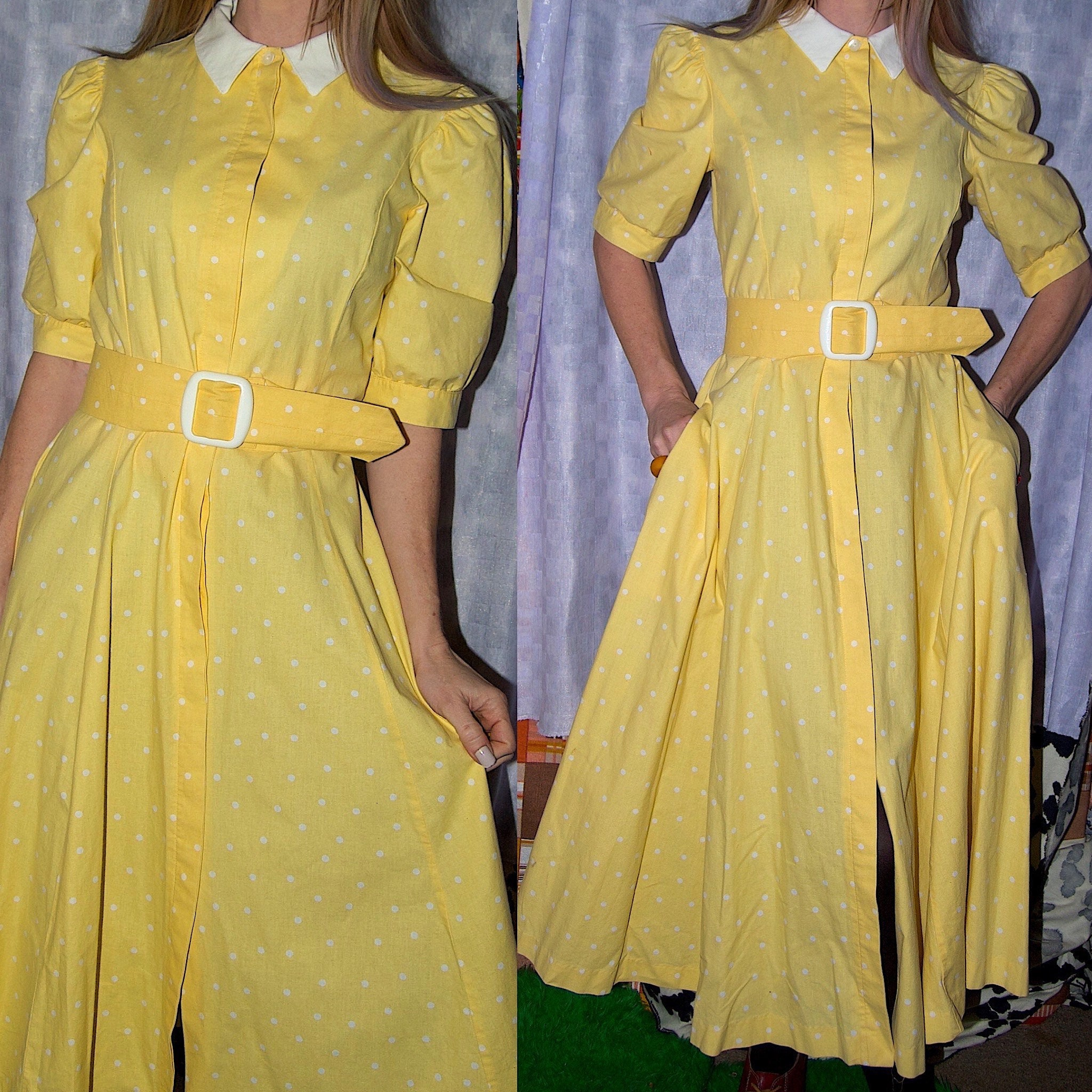 80s Dresses | Casual to Party Dresses Vintage 1980s Yellow Laura Ashley Polka Dot Belted Fit N Flare Day Dress $26.00 AT vintagedancer.com