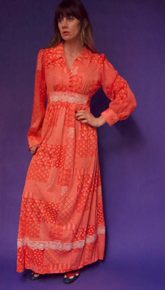 Vintage 1970's Gunne Sax Style RED & White FLORAL… - image 2