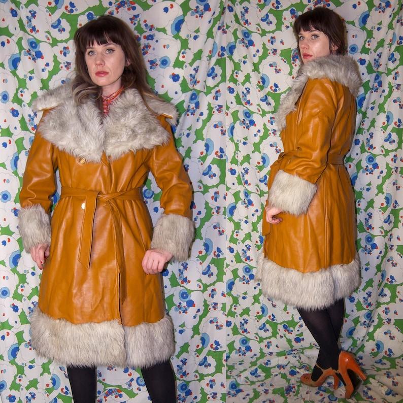 Vintage 1970's SHAGGY Fur Trimmed Golden FAWN RUBBER Sheep Skin Penny Lane Coat
