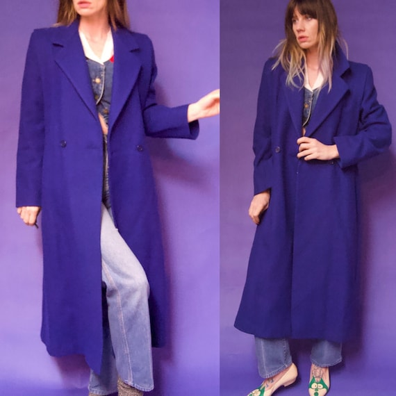 Vintage 1980's BLUE New WOOL Oversized Blazer Suit