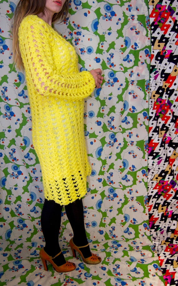 Vintage 1970's Bright YELLOW CROCHET Knit Mini MO… - image 5