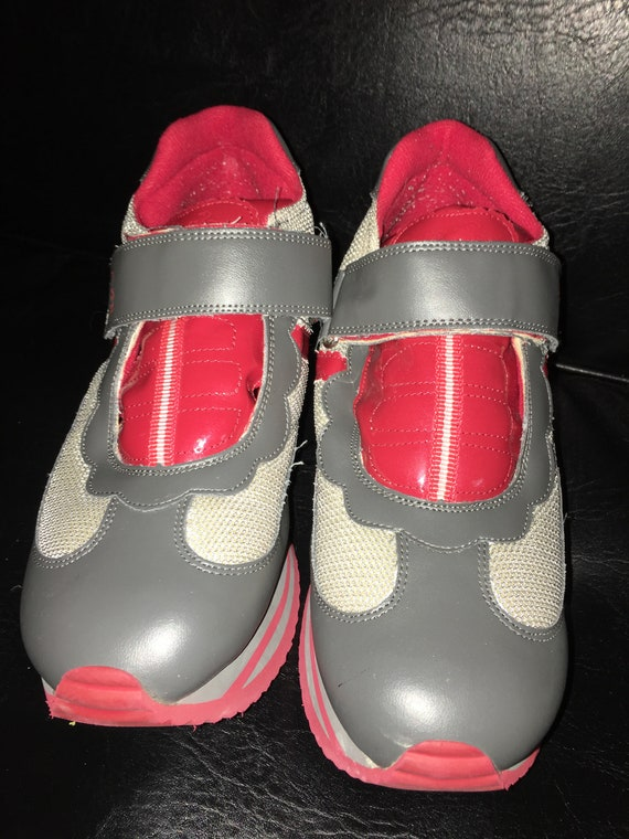 KITTY Shoes Vintage PLATFORM HELLO Creeper Red 1990's Sneakers E88qp0