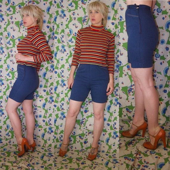 PIN United HiGH WAiSTED Garment Workers Up RoCKABILLY Shorts Vintage 1950's n0BqPP