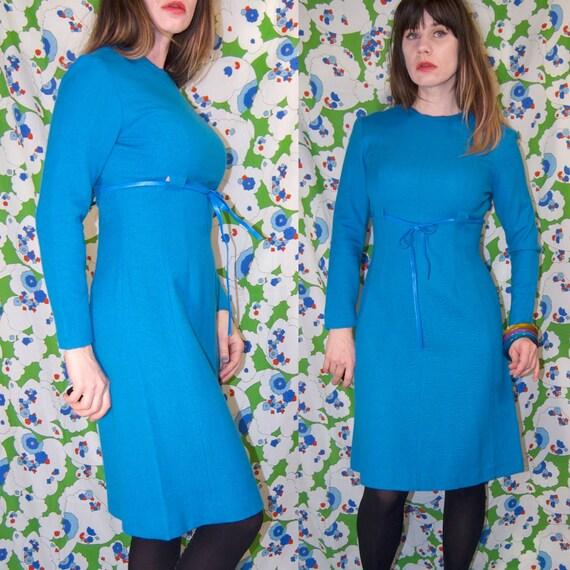 Vintage 1950's/1960's TEAL Blue BOW TIE Belted Mod